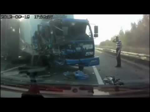 Russian Trucker is thrown through Windscreen in horror Crash - Lucky Driver escapes death