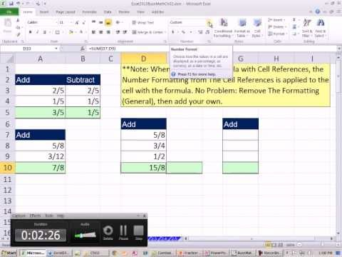 Excel 2010 Business Math 22: Adding & Subtracting Fractions Lest Common Denominator LCM Function