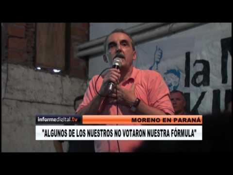 <b>Moreno en Paraná.</b> Convocó a recuperar peronistas y avaló a Urribarri