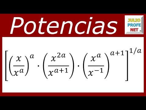 Simplificación de una expresión algebraica con propiedades de la potenciación