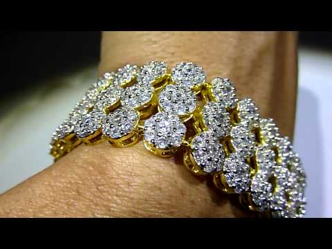 High-Quality! Lab Made 3-ROW Diamond Cluster BRACELET in WHITE on GOLD! Gucci Mane Rick Ross