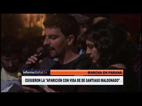 <b>Santiago Maldonado.</b> Masiva marcha en Paraná por su aparición
