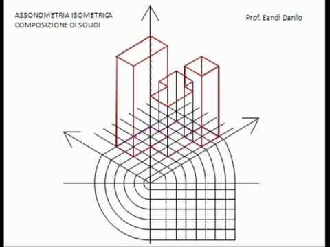 Assonometria isometrica composizione di solidi 3