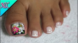 Youtube Decoracion De Unas Pies Nail Decoration Feet Flower
