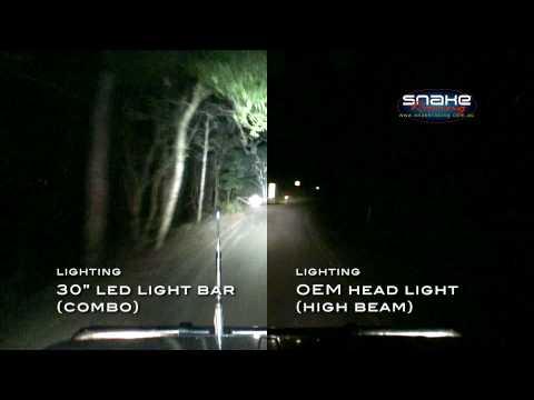 Rigid Industries 30 LED Light Bar + OEM Head Light - side by side comparison
