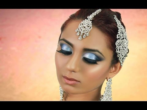 Blue Smokey Eye Makeup Tutorial- Indian Bridal / Asian / Pakistani / Arabic - Contemporary Look