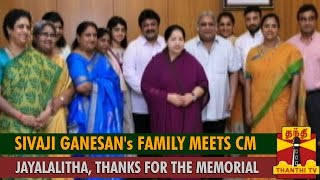 Watch Sivaji Ganesan's Family Meets Chief Minister Jayalalithaa, Thanks for the Memorial Red Pix tv Kollywood News 01/Sep/2015 online