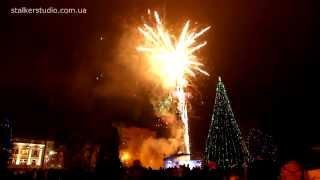 Открытие новогодней ёлки в Житомире. Фейерверк