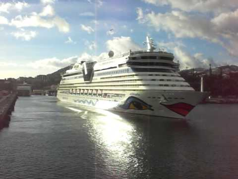 AIDA Bella Cruise Ship leaving dock in Funchal, Madeira