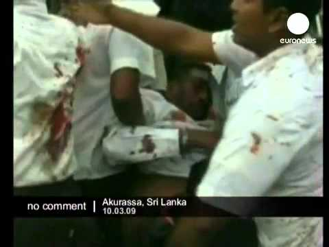 LTTE suicide bomb blast caught on video in Akurassa Sri Lanka