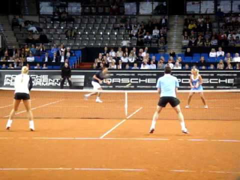 Henri Leconte being funny at Porsche Tennis Grand Prix 2011