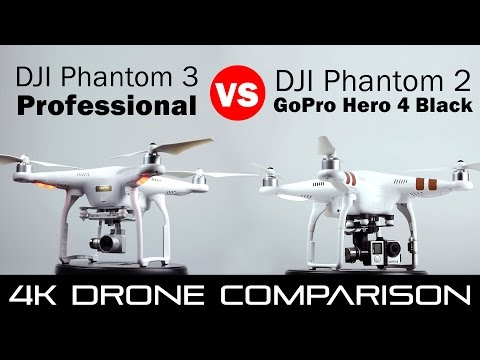 DJI Phantom 3 Professional vs Phantom 2 With GoPro Hero 4 Black - 4k Drone Comparison