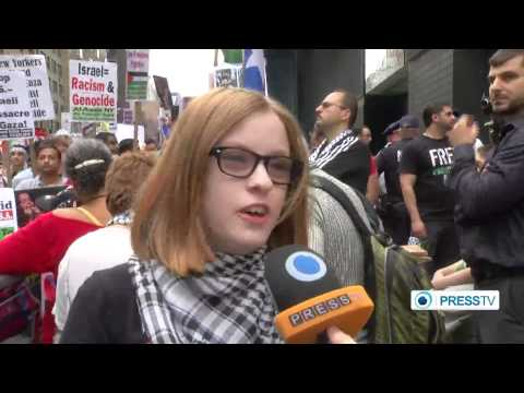(Protesters) in New York condemn biased coverage of Israeli war on Gaza to FOX NEWS AND CNN NEWS
