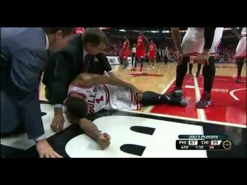 Derrick Rose tears ACL late in game vs Sixers Bulls-Sixers Game 1 4-28-12