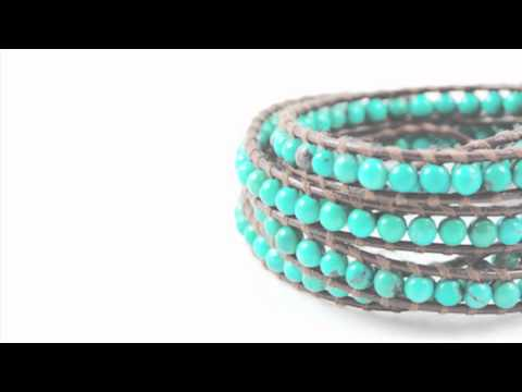 Turquoise Wrap Bracelet on Brown Leather - Chan Luu