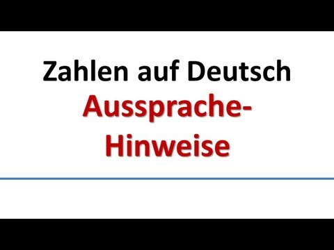 Deutsch: Aussprache - Zahlen (deutsche Untertitel)/German: pronunciation of numbers (German subs)