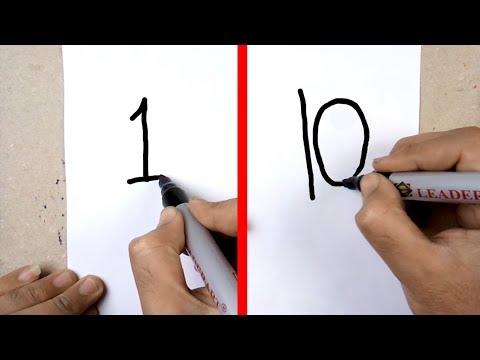 كيفية تحويل الارقام من 1 ل 10 الى رسم 10 اوجه انسان مختلفه | الرسم بالكلمات