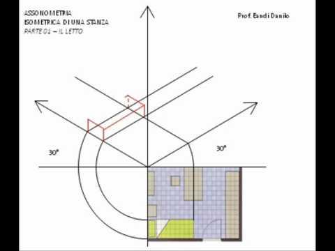 Assonometria isometrica stanza - 01 - Letto