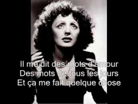 watch Edith Piaf -La vie en rose with lyrics