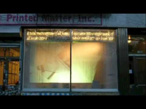"Window video & documentary video of Greg Sholette's installation ""Torrent"" at Printed Matter, NYC 2013"