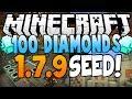 "Minecraft Seeds - ""100 Diamonds"" - (Village at Spawn, 2 Temples, Mesa Biome, Diamonds) 1.7.10 & 1.8"