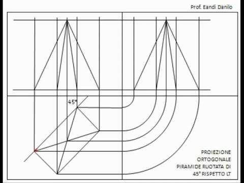 Proiezione ortogonale piramide ruotata di 45° rispetto LT