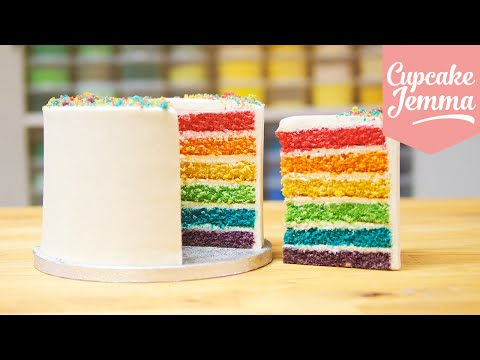 How to make the Best Ever Rainbow Cake | Cupcake Jemma
