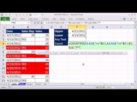 Excel Magic Trick 908: Count Text Entries Between Two Dates
