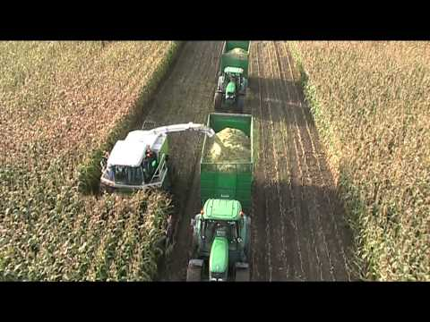 Maize Harvesting 2010 with Claas Jaguar & John Deere Aerial View - johnwandersonagain