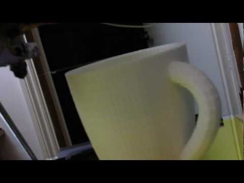 3D Printing a Full Size Coffee Mug on a Reprap Prusa Mendel 3D Printer - Timelapse