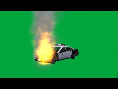 """police car on fire"" free green screen effects - bestgreenscreen"