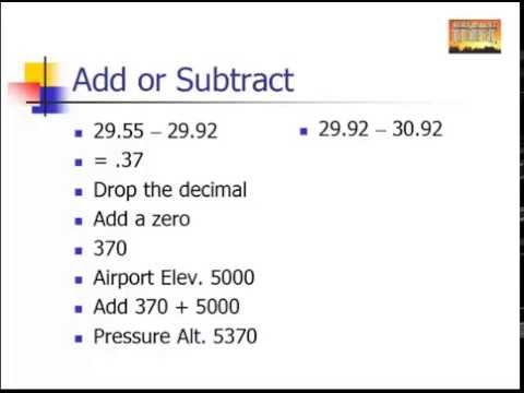 How To Figure Pressure Altitude