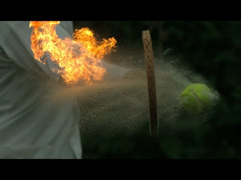 Fire Tennis in slow motion