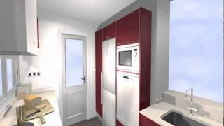 Estudio de cocina con una solución ingeniosa para instalar el lavavajillas en columna -ARREDO-.Mov
