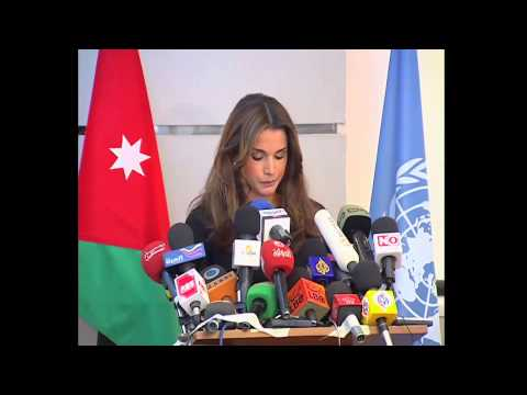 Queen Rania at a press conference on Gaza