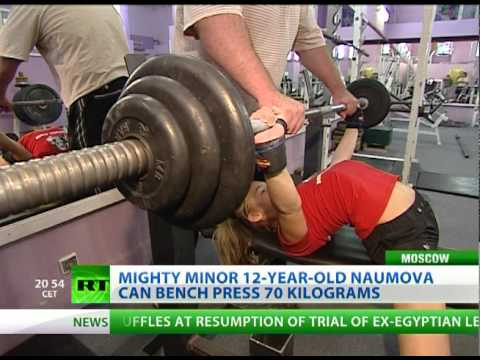 Girl Power-lifting: Amazing 12-year-old bench presses 70 kilos