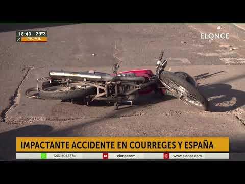 Hospitalizaron a motociclista tras chocar contra un auto en Paraná