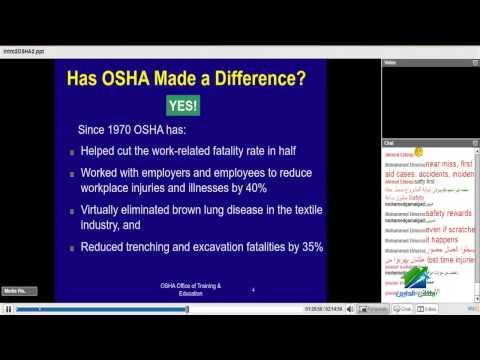 دبلومة الصحة والسلامة المهنية بالمواقع الانشائية-Osha | محاضرة1