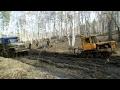 Трактор ДТ-75 вытаскивает Урал 5557