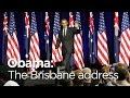 Barack Obama speaks at Brisbane university during G20