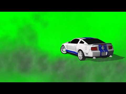 Car (Mustang) drive makes burnout and drift in circle - green screen effects