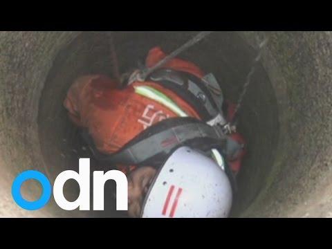 بالفيديو: شاهد انقاذ طفلة 6 سنوات سقطت في بئر