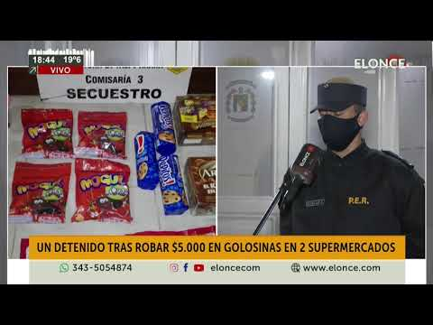 Joven detenido por robar golosinas en dos supermercados por un valor de $5.000