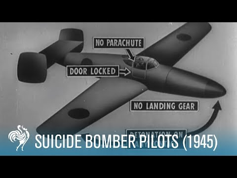 Suicide Bomber Pilots, Footage from WW2, 1945 [HD]