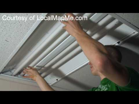 How to install or change fluorescent bulbs in recessed office fluorescent lighting