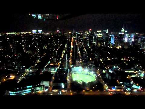 Night Flight over Hudson River, Manhattan NYC in small plane