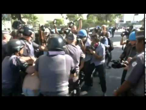 Clashes at (Brazil) World Cup protest Brazilian police fire tear gas at anti-World  6/17/2014