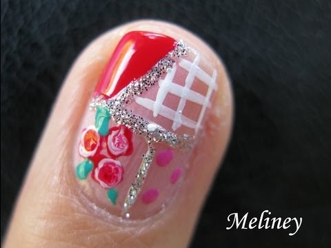 Nail Art Tutorial - Country Romance patchwork pattern roses design short nails