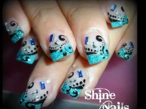diseños de uñas con sello, pintadas con esmalte