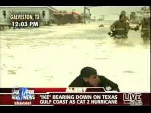 Geraldo wipes out covering Hurricane Ike